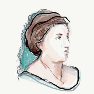 Savka Subotić, crtež prema arhivskoj fotografiji