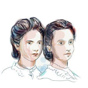 Sestre Milica i Anka Ninković, crtež prema arhivskoj fotografiji