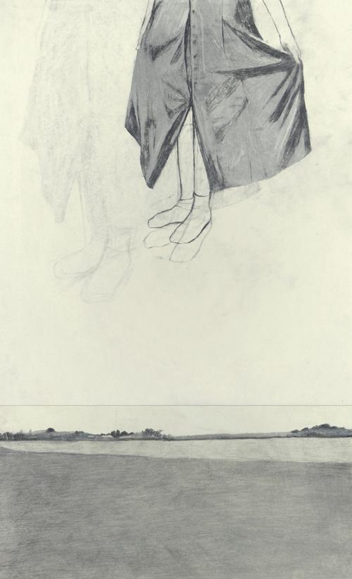 Nora Mesaroš, Landskape, grafit i ugljen na papiru, 70x42 cm, 2017.